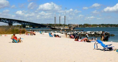 Yorktown beach is popular with families