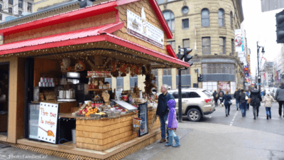 an urban maple cabin selling sweets in Montreal