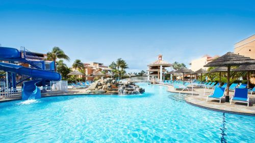 This pool slide is a hit with families at divi village in aruba