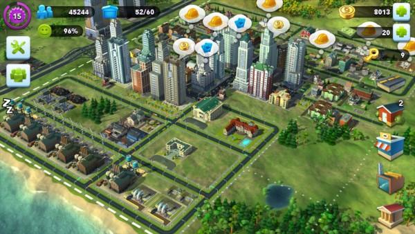 Een schermafbeelding van Simcity Buildit.