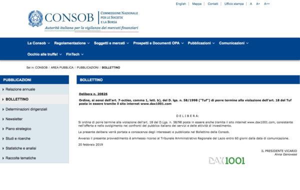 DAX1001 Delibera Consob