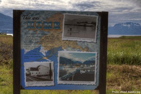 A sign explaining old valdez town