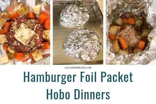 Hamburger foil packet hobo dinners