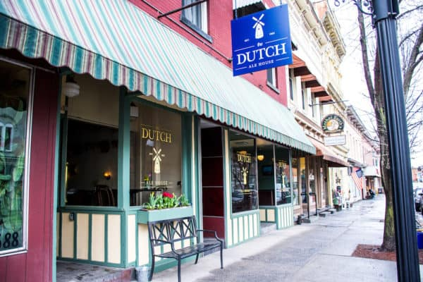 The Dutch Ale house is a popular storefront on Saugerties' spiffy main street with turn-of-the-century buildings.