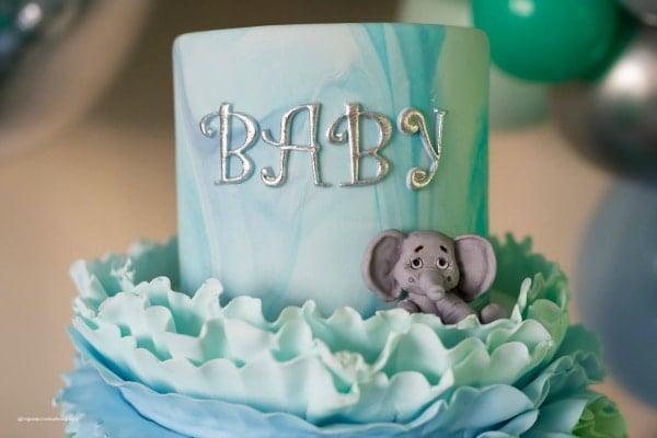Blue Elephant Baby Shower Cake