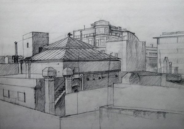Azoteas calle Portaferrissa, BCN. Dibujo a lápiz