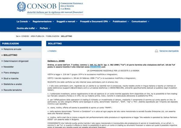 CentroBanc Comunicazione CONSOB