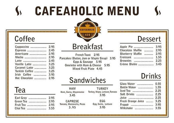 menu cafe đẹp