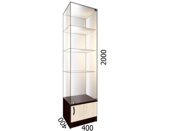 Витрина стеклянная с накопителем 400*400*2000 фасад зеркало