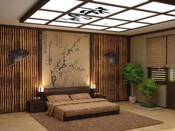 натяжной потолок в японском стиле в спальне