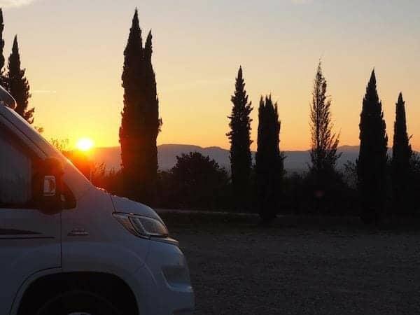 Motorhome by sunset