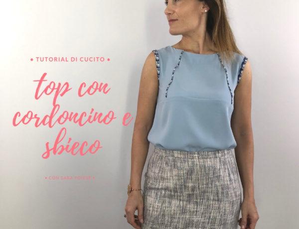 Cucire Il top minidress con cordoncino e sbieco - tutorial di cucito con sara poiese