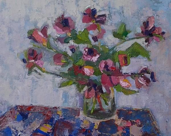 Flores. Pintura al óleo sobre tela