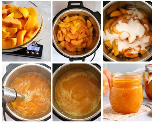 six photos steps to show how to make peach butter in the Instant Pot