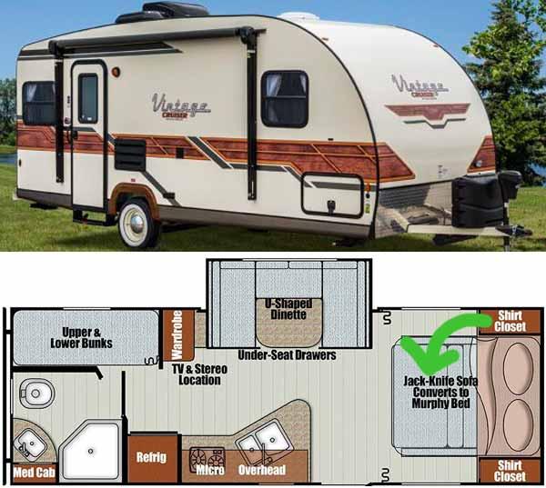How the Murphy bed works inside the caravan