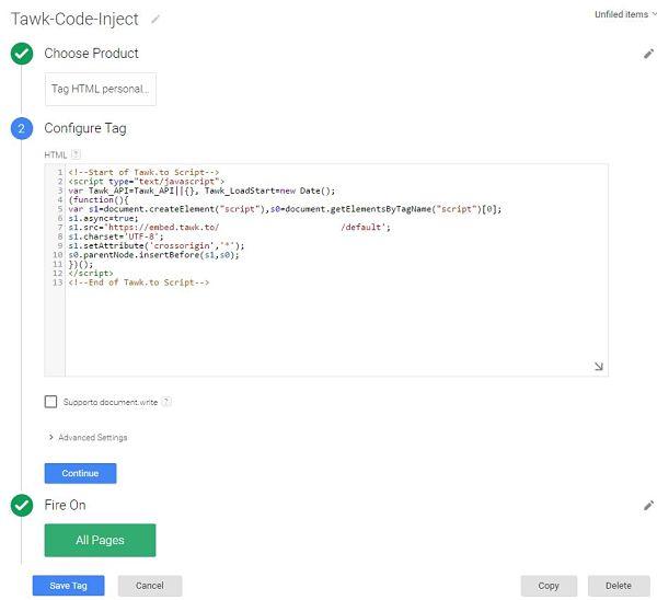 Inserimento del tag in Google Tag Manager per la gestione di tawk.to