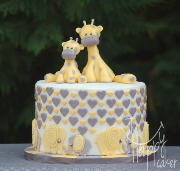 Elephants and Giraffes Baby Shower Cake, Amazing Baby Shower Cake