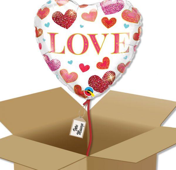 Ballon coeur LOVE à envoyer dans sa boite cadeau