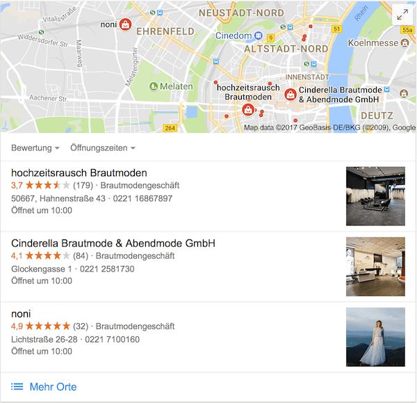 Google my Business Brautmode Köln