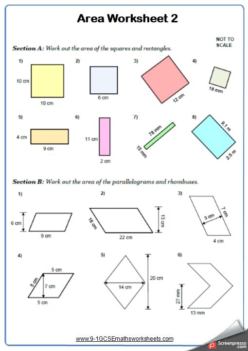 Area of Quadrilaterals Worksheet 2