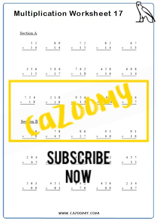 Multiplication Worksheet 8