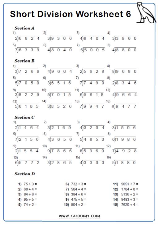 Short Division Worksheet 3