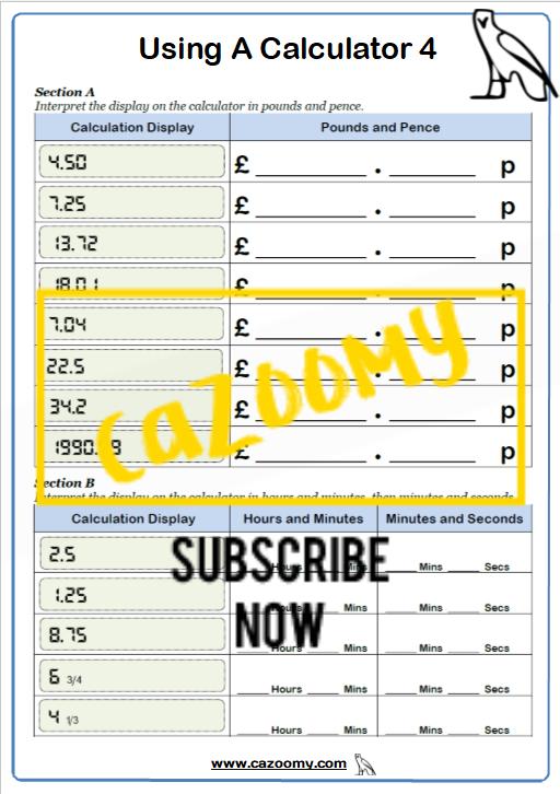 Using A Calculator Worksheet 4
