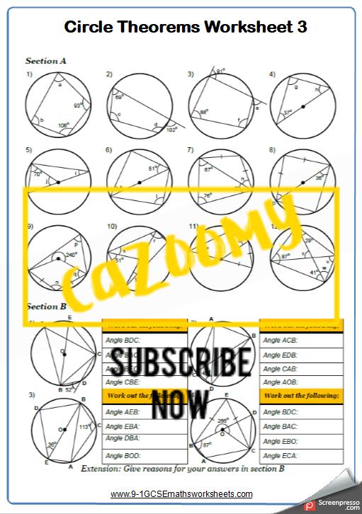 Circle Theorems Worksheet 3