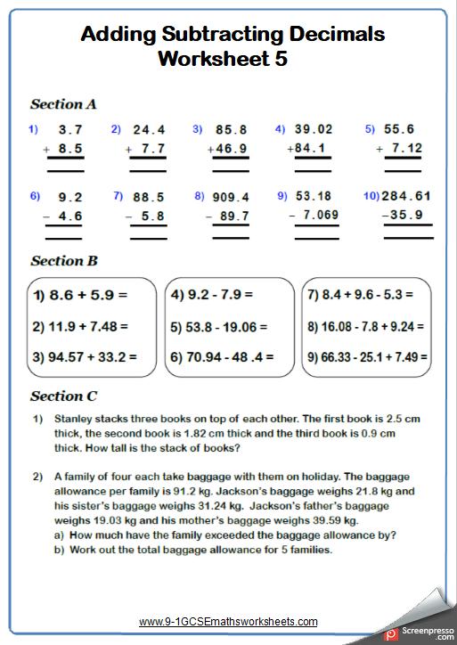 Adding Decimals Worksheet 1