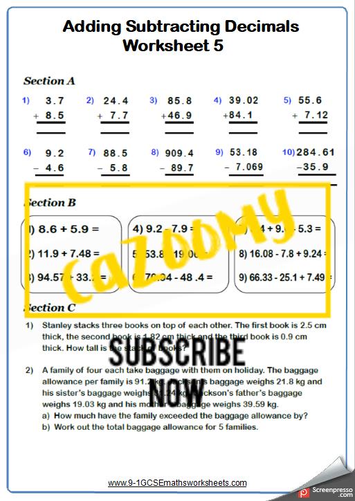 Decimals Worksheet 5