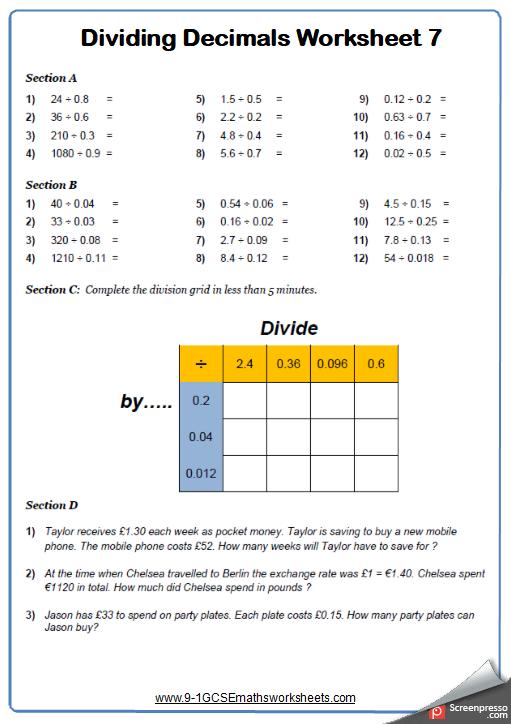 Dividing Decimals Worksheet 2