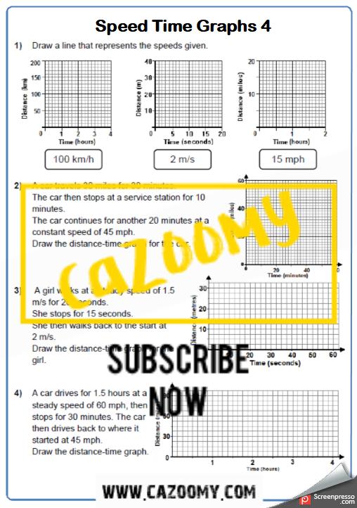 Distance Time Graphs Worksheet 2