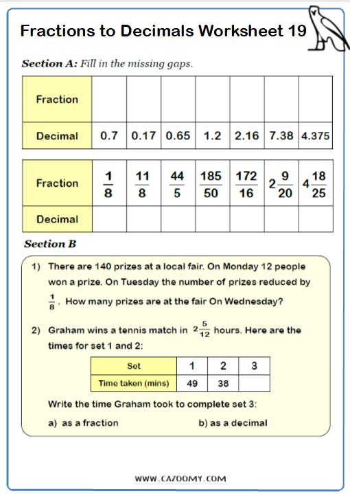 Fractions to Decimals Worksheet 3