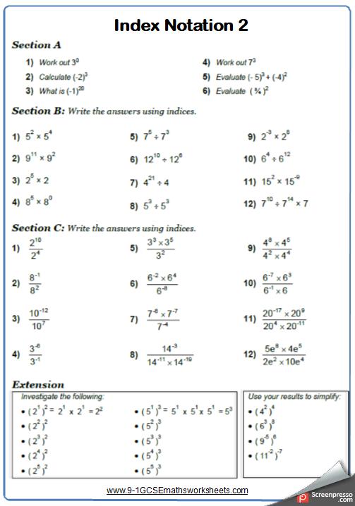 Indices Worksheet 2