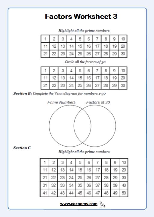 Prime Numbers Worksheet 1