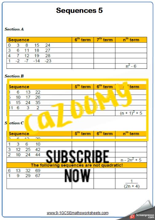 Sequences Worksheet 5