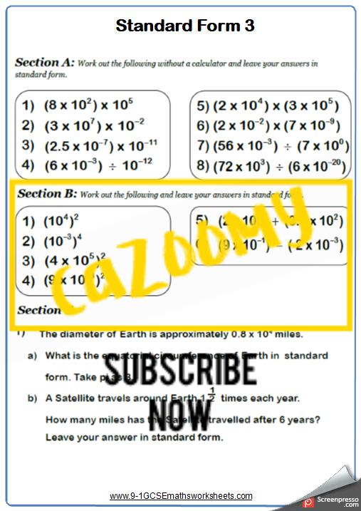 Standard Form Worksheet 3