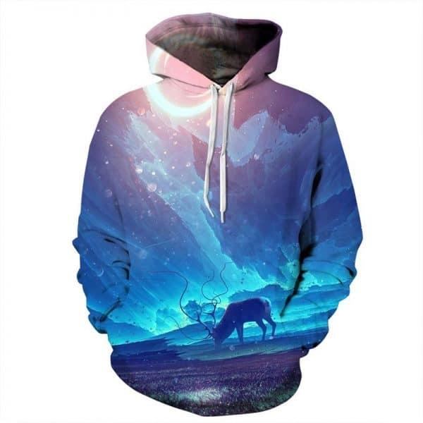 Chill Hoodies Grazing Deer Hoodie Arctic Landscape Winter Unisex Adult Sweatshirt