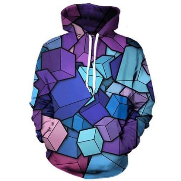 Chill Hoodies Abstract Cubes Hoodie Purple Blue Cubes Unisex Adult Sweatshirt