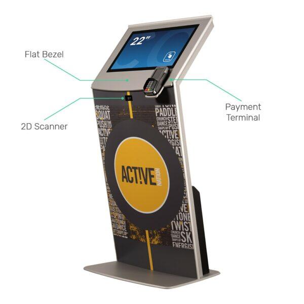 Touch screen kiosk with flat bezel, 2D Scanner and Payment Terminal FLEXI Tilt