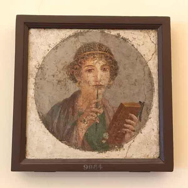 Affresco con ritratto della poetessa Saffo al MANN di Napoli