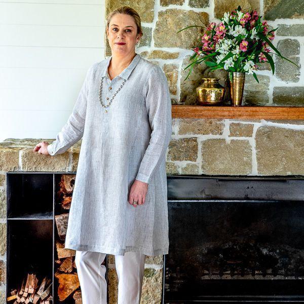 Linen dress - grey & white stripe