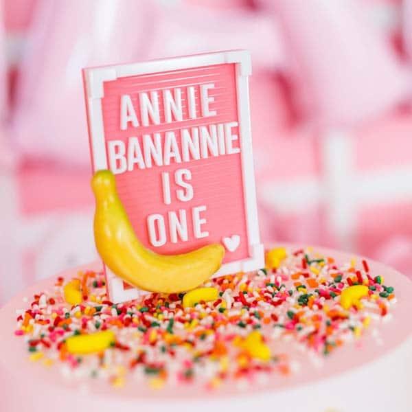 Custom Annie Banannie Letterboard Cake Topper