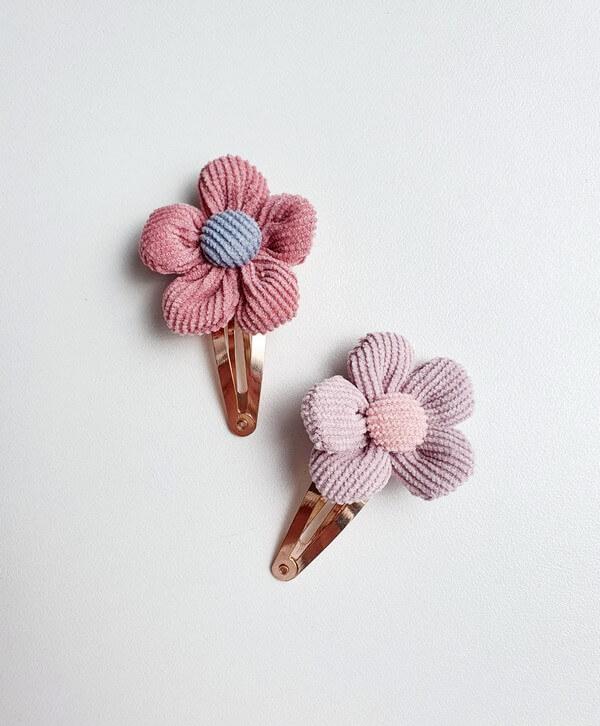 Roségoud haarspeldje ribstof bloem
