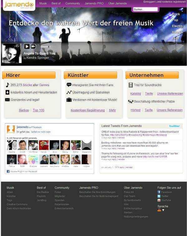 Darstellung der Netzwerke auf Startseite