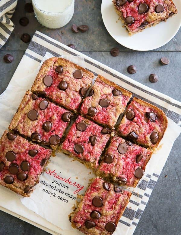 Strawberry yogurt chocolate chip snack cake