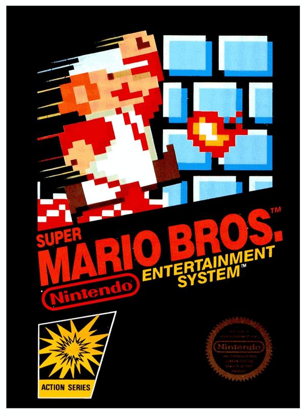 Carátula original de Super Mario Bros año 1983 cartucho