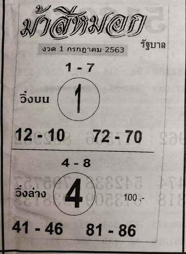 เลขเด็ด ม้าสีหมอก 1/7/63