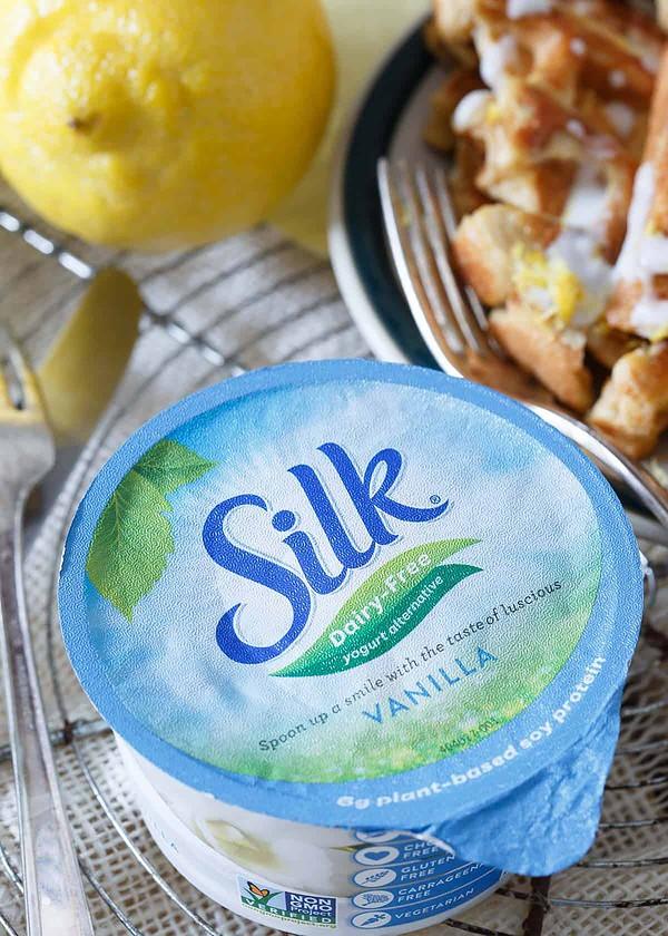 Lemon Vanilla Waffle French Toast made with Silk dairy free vanilla yogurt alternative