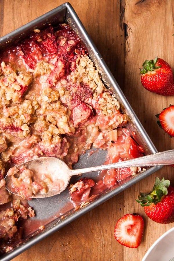 Vegan Strawberry Rhubarb Crisp--heartofabaker.com-4